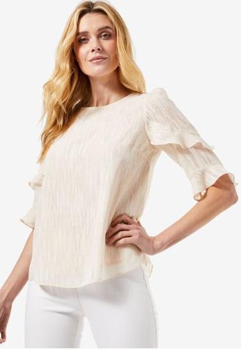 Dorothy Perkins white Cream Ruffle Sleeve Top B4D5DAAD9C53CCGS_1