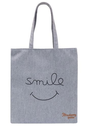 STRAWBERRY QUEEN grey Zipper Canvas Tote Bag (Grey AA) 363CDAC6CC9418GS_1
