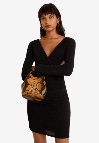Mango black Metallic Thread Dress DA095AAF5B590BGS_1