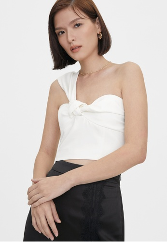 Pomelo white One Shoulder Knotted Sweetheart Top - White FD96CAADE62B8AGS_1