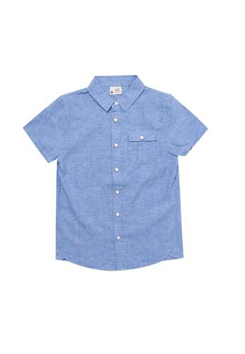 Giordano blue Junior Short Sleeve Cotton Linen Shirt 76C1DKA1891402GS_1
