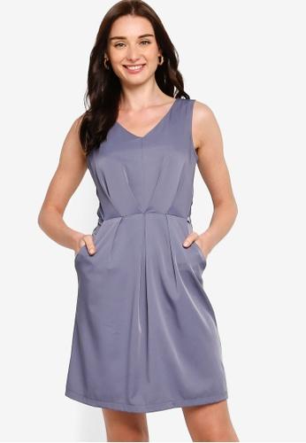 ZALORA blue Tie Detail V-Neck Dress 3A749AADFCBBE5GS_1