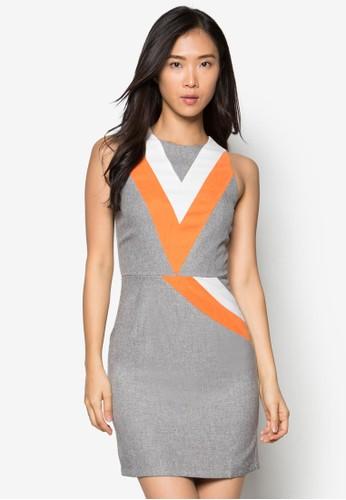 zalora鞋Zelena 拼色無袖連身裙, 服飾, 正式洋裝