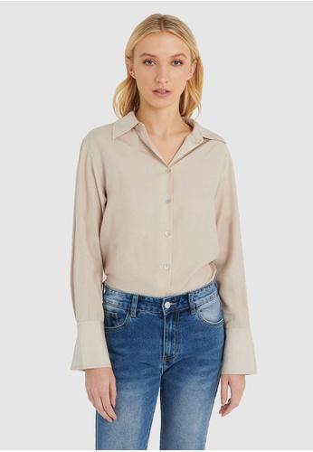 FORCAST beige FORCAST Caia Oversized Shirt Blouse F3DDCAA02A5D74GS_1