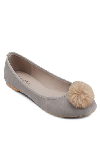 絨球圓頭平底鞋, 女鞋,esprit taiwan 鞋