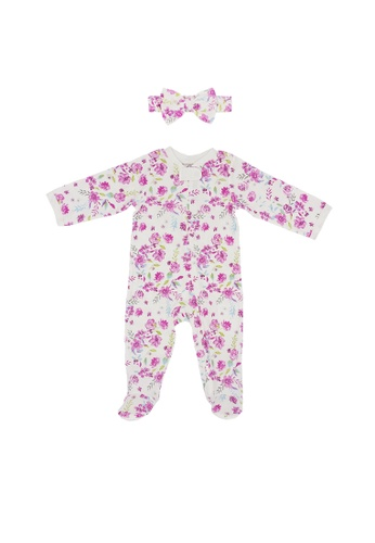 Baby Lovett white Floral Love Two-Way Zipper Suit with Headband 31470KA162FEA1GS_1