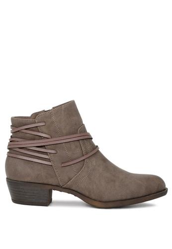 London Rag 灰色 London Rag 灰色拉链女式短靴 细带装饰短靴 0DB4FSHC255FDBGS_1
