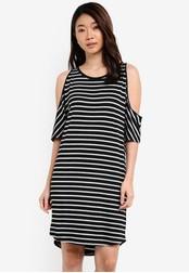 ZALORA multi Basic Cold Shoulder Dress With Curved Hem CE620ZZ170D0E8GS_1