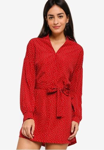 ZALORA red Short Shirt Dress C85FCAA20EE6CEGS_1