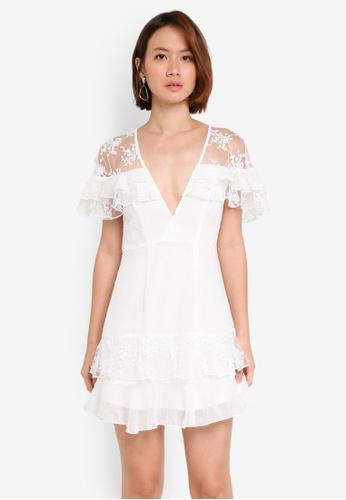 INDIKAH white Ruffle Lace Skater Dress 73CE0AA61CFFB3GS_1