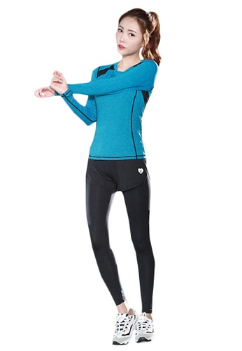B-Code blue ZYG5150-Lady Quick Drying Running Fitness Yoga Sports Top and Leggings with Shorts-Blue C7912AA48C7C6EGS_1