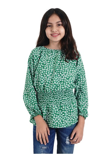 KIDS ICON green KIDS ICON - Blouse  Anak Perempuan 4-14 Tahun CURLY with Smock Elastic detail - LYB01100200 52B40KA321BCCCGS_1