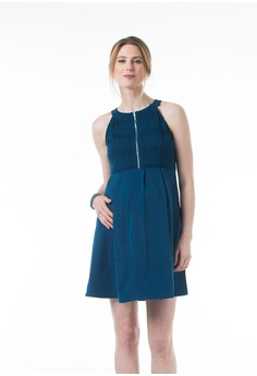 3c02d36f15ccb Bove by Spring Maternity blue Woven Sleeveless Cleone Halter Neck Dress  Teal 70F33AAB772ABCGS_1