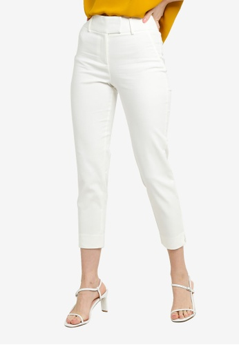 FORCAST white FORCAST Danna Cropped Notch Pants CB4BCAA8493AEBGS_1
