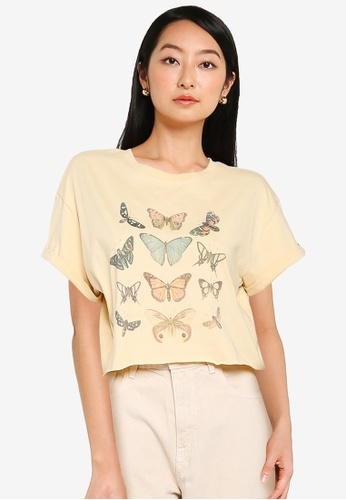 Supre white and beige Tamara Printed Crop T Shirt 08E20AA7446046GS_1