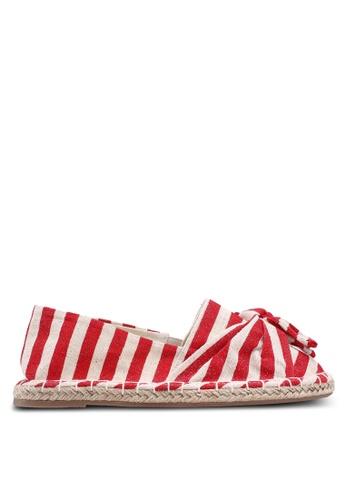 Dorothy Perkins 紅色 條紋閃亮蝴蝶結草編懶人鞋 A5DAASHC71FD91GS_1