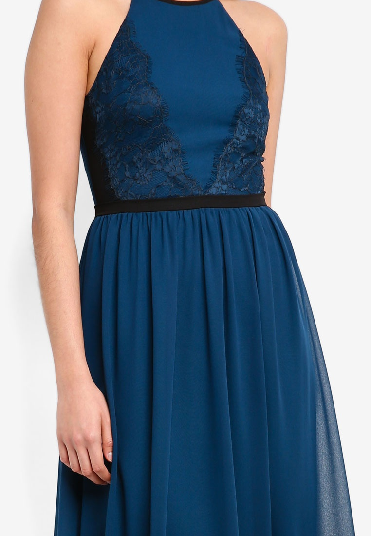 Lace Black Cut Lace Bridesmaid ZALORA Dress Teal In Panelled Maxi 5vna87F