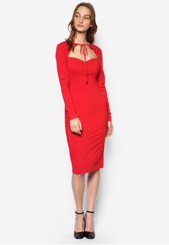 Thea 性感繫帶鏤空長袖鉛zalora 衣服尺寸筆連身裙, 服飾, 服飾