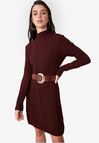 Trendyol red Knitted Turtleneck Dress FEF82AA3CD7DF3GS_1