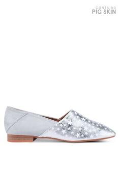 a278b2b692e VANESSA WU silver Metallic Star Printed Flats 38195SHA771D85GS 1