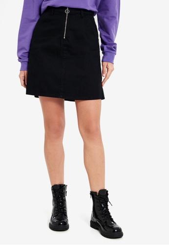 LC Waikiki black Front-Zipper Jean Mini Skirt 76D7EAADB2FD60GS_1