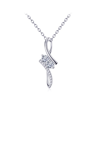 Glamorousky white 925 Sterling Silver Fashion Simple Geometric Pendant In with Cubic Zirconia and Necklace D49CAACF3BB33AGS_1