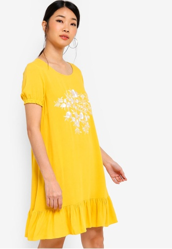 Something Borrowed yellow Embroidered Flutter Hem Dress D9ED0AA1E0B493GS_1