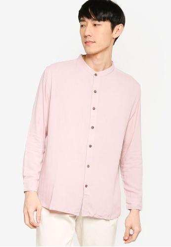 ZALORA BASICS pink Basic Oversized Grandad Collar Shirt 6FDCAAA3683F80GS_1