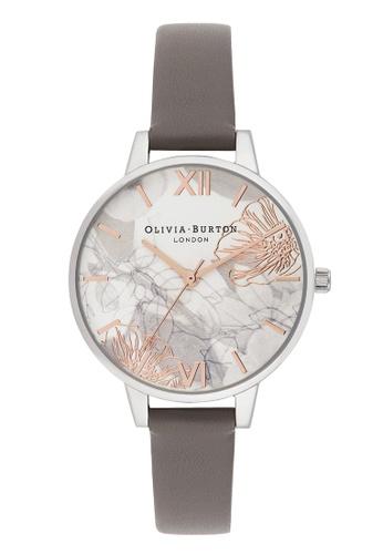 Olivia Burton grey Olivia Burton Abstract Florals LONDON GREY 34mm Women's Watch E2285AC7EBE4FBGS_1
