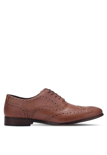 Topman brown Brown Leather Throne Brogues TO413SH0S7YGMY_1