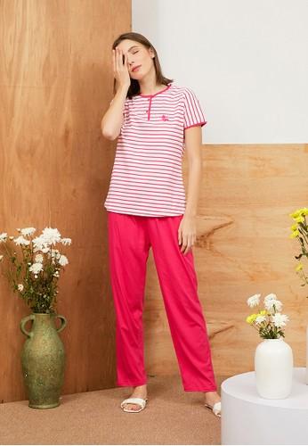 Greet Night Wear pink Greet Night Wear Stripe Pattern Slim Fit Long Pants E-296 / PP A3805AA9B86C45GS_1