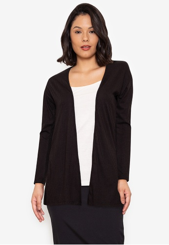 Seventh Cherie black Long Sleeve Plain Knitted Cardigan D0A2AAA30A4A9AGS_1