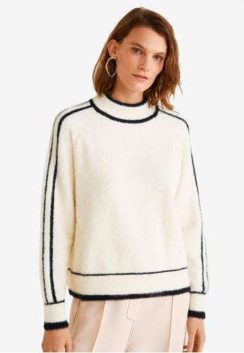 Mango beige Contrasting Stripes Sweater 88CF0AABEBD84FGS_1