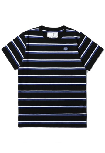 :CHOCOOLATE black Logo stripe tee 6F9EFAA46DB593GS_1