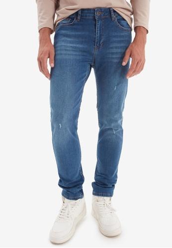 Trendyol blue Slim Fit Distressed Jeans FFF4DAAFBCF27BGS_1