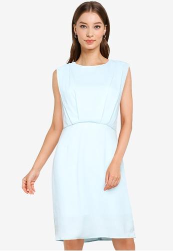 ZALORA WORK blue Pleat Detail Mini Dress 65384AA9AA6BC3GS_1