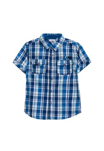 OVS blue Embroidery Tartan Shirt 32FC8KAA71EF2BGS_1