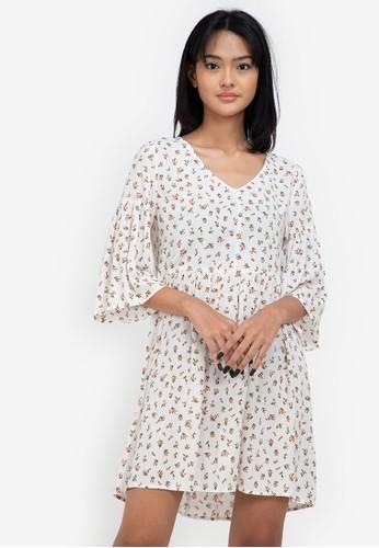 ZALORA BASICS multi Flare Sleeve Babydoll Dress 28725AABED0D97GS_1