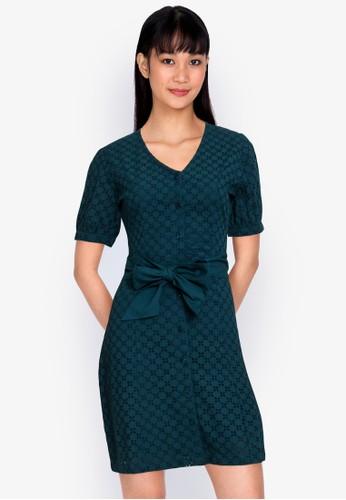ZALORA BASICS green Broderie Fitted Shirt Dress A2DA8AAC8499CAGS_1