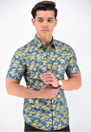 UA BOUTIQUE blue Short Sleeve Shirt Batik UASSB46-041 (Blue) FBDCAAA1288D36GS_1