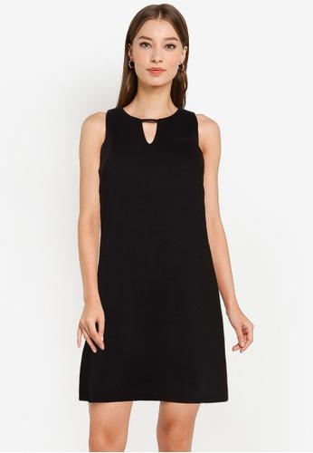 ZALORA WORK black Cut Out Notch Neck Shift Dress 269E3AA7975080GS_1