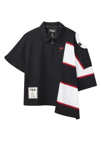 FILA navy FILA × Maison MIHARA YASUHIRO Cut-off Shoulder Cotton Polo Shirts With Asymmetric Hem 60C8FAA5F6AEE9GS_1