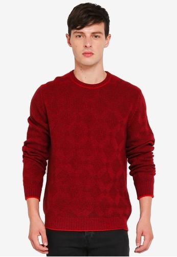 United Colors of Benetton 粉紅色 菱格紋羊毛圓領針織衫 7C177AA53B3B13GS_1