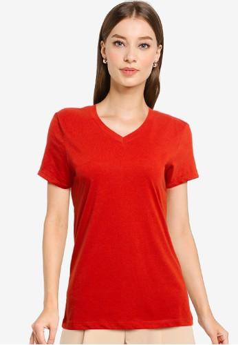 Tolliver red V Neck Basic Short Sleeve Tee 852F3AAF951325GS_1