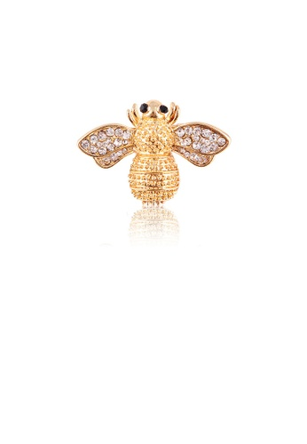 Glamorousky white Simple and Cute Plated Gold Bee Brooch with Cubic Zirconia EA610AC6FA5B25GS_1