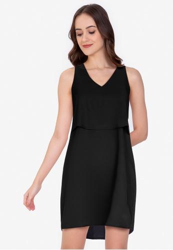 ZALORA WORK 黑色 V Neck Double Layer Mini Dress 43E92AA5FFDBCCGS_1
