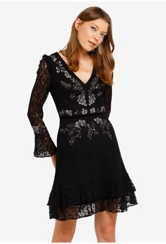 9d6a32db06cb96 French Connection black Bella Sparkle Embellished Lace Dress  851ABAABE4FC31GS_1