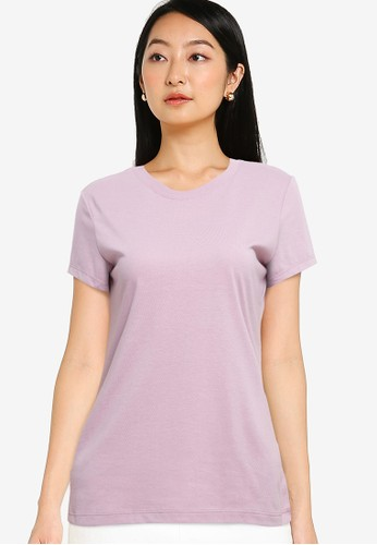 Tolliver purple Round Neck Basic Short Sleeve Tee AE5EDAAA75419EGS_1