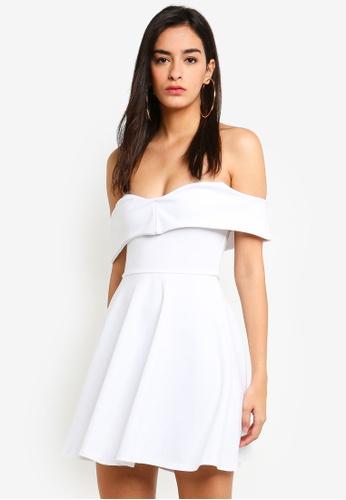 MISSGUIDED 白色 褶飾露肩洋裝 9BD1CAABA30B9EGS_1