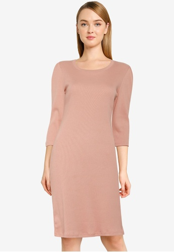 UniqTee pink Gathered Sleeve Straight Dress A0059AAC5F6B33GS_1